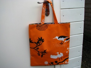 A book bag in one of my favourite fabircs. I LOVE orange - you will discover that about me!